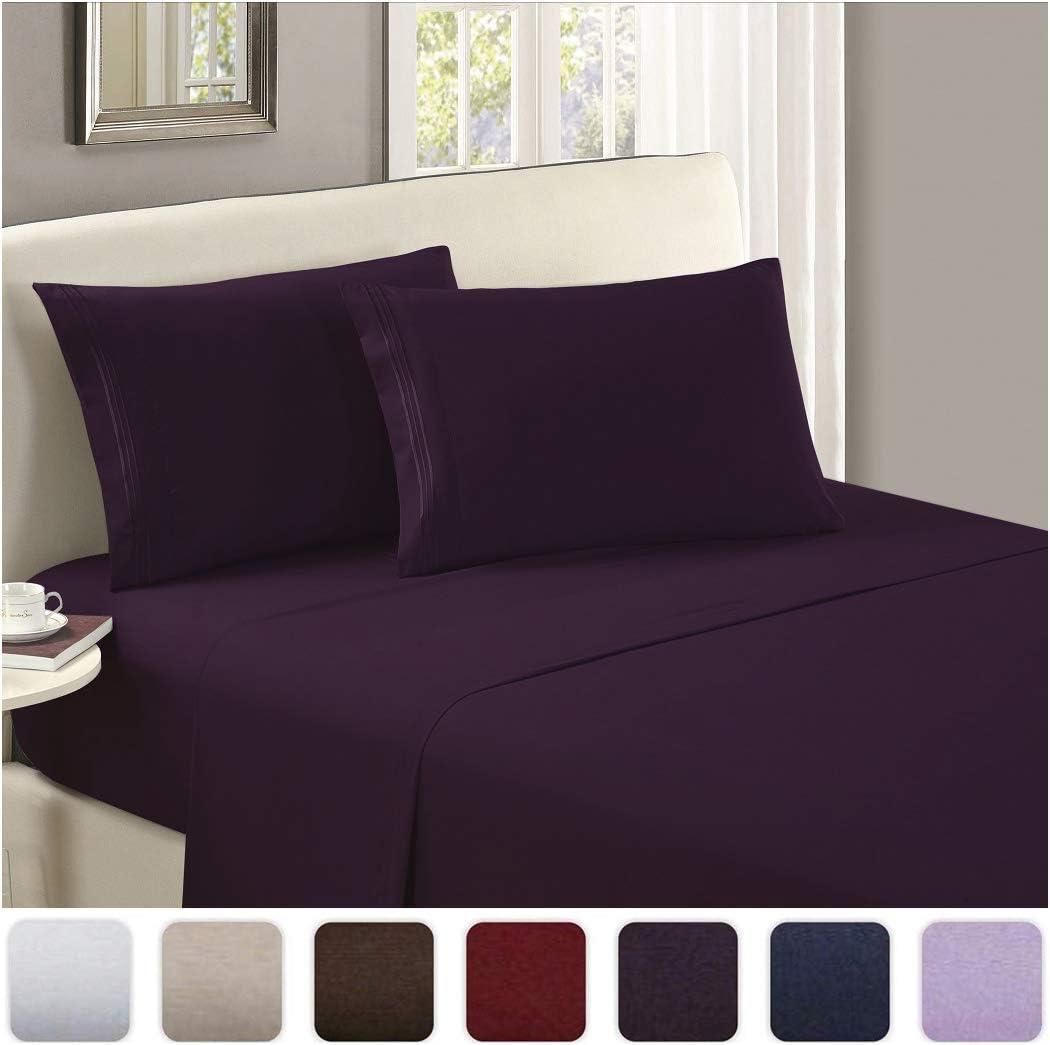 Mellanni Luxury Flat Sheet - Brushed Microfiber 1800 Bedding Top Sheet - Wrinkle, Fade, Stain Resistant - Ultra Soft - Hypoallergenic - 1 Flat Sheet Only (Twin, Purple)