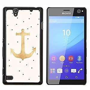 LECELL--Funda protectora / Cubierta / Piel For Sony Xperia C4 -- Dot ancla del oro Marinero Capitán --