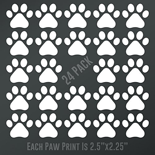 DD895 Dog Paw Prints 24-Pack   Each paw 2.5-Inches By 2.25-Inches   Premium Quality White Vinyl