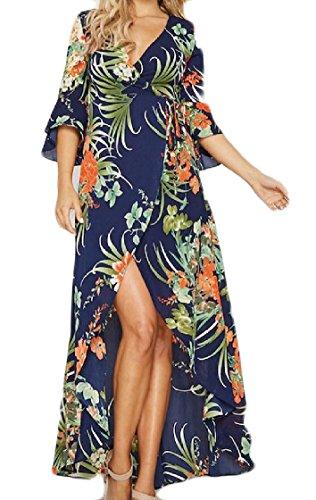 Women's Blue Flare Dresses Patterned Coolred Neck Bohemian Irregular Style V Sleeve SnRaW6dqv