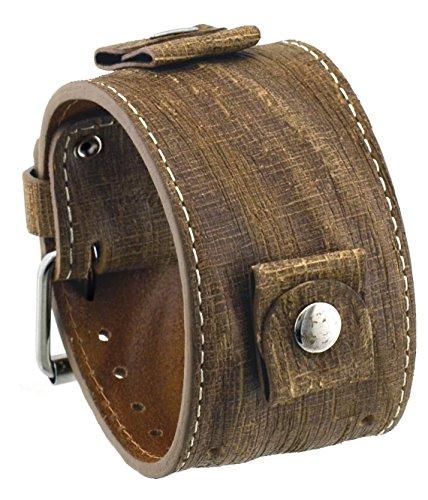 Rev #GS-CL Golden Sahara Groot Pattern Camel Brown Wide Leather Cuff Watch (Brown Wide Leather Cuff Watch)