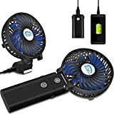 HandFan Portable Handheld Fan, Mini Hand Fan/Small Desk Fan Folding Change 5-18 Hours Working Time Personal Fan Rechargeable Battery/USB Operated Electric Fan Handle is 5200mA Power Bank(Power Black)