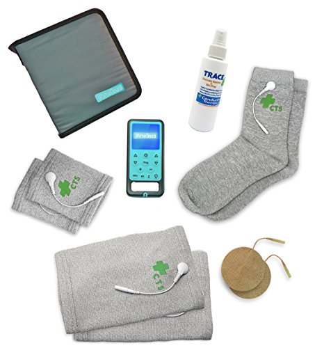 Ultima Neuro Neuropathy Treatment System for Relief of Peripheral, Diabetic & Poly Neuropathy Nerve Pain with Conductive Socks Pair & Conductive Knee Sleeves Pair by Conductive Therapy Shop