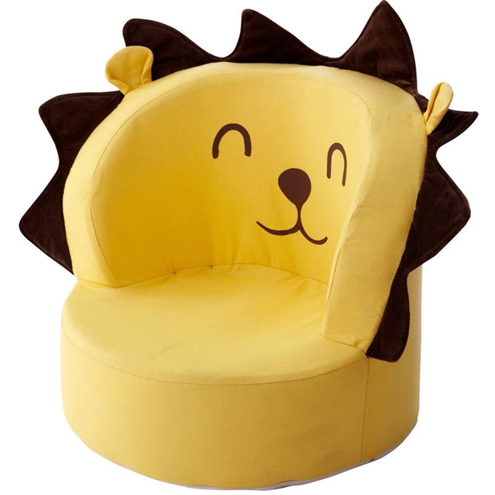 子供用ソファ黄色の綿の漫画の肌に優しい子供部屋用ソファスツール取り外し可能と洗える B07T8NZ989