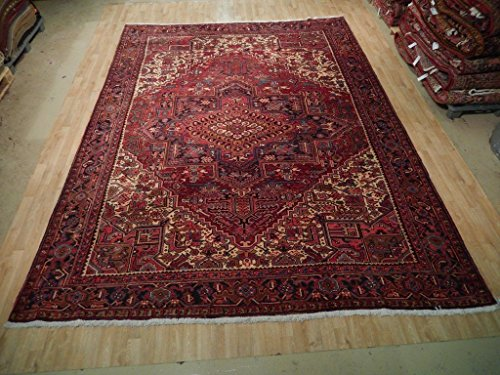 Red 10x13 Traditional Heriz Hand Woven Persian Area Rug Oriental Wool Carpet