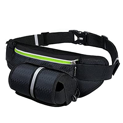 Fanny Pack MYCARBON Waist Pack with Water Bottle Holder Waterproof Running Belt for iPhone 7/6S Plus Galaxy S6 S7 Note 6 Reflective Water Bottle Pack for Running Hiking Cycling Travelling-Black