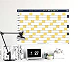 "BestSelf Co. Dry Erase Wall Calendar 2017, Yearly Layout 24"" x 36"" Dual Orientation, Plan The Year With A Single Glance, Goal Setting, Habit Tracking, & Planning"