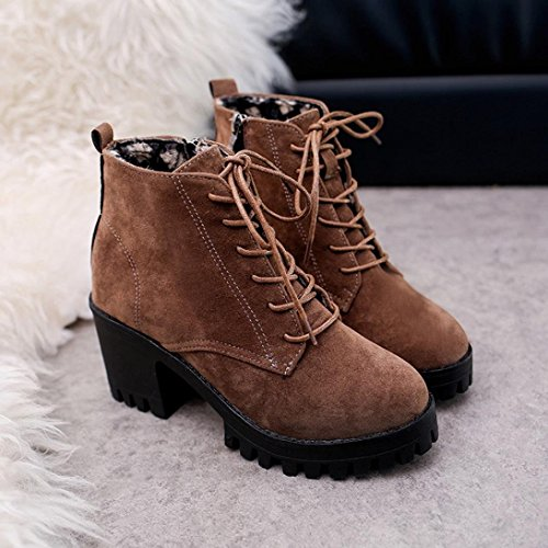 Casual Brown Leather Tall Shoes Martin Fashion 2018 Women Slip up Heels Non Toe Velvet Boots Lace High Round pPTqB
