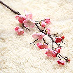 SHJNHAN Artificial Flowers,1pc Artificial Silk Fake Flowers Plum Blossom Floral Wedding Bouquet Party Decor (Pink)
