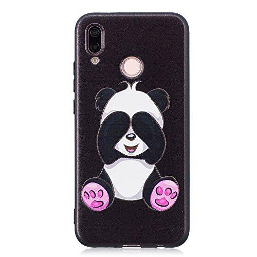 Funda para Huawei Nova 3e / Huawei P20 Lite , IJIA Pandas Lindo TPU Negro Silicona Suave Cover Soft Case Tapa Caso Parachoques Carcasa Cubierta para Huawei Nova 3e / Huawei P20 Lite (5.8) (BF36)