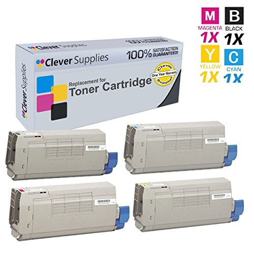 CS Compatible Toner Cartridge Replacement for Okidata C711 44318604 Blak 44318603 Cyan 44318601 Yellow 44318602 Magenta Okidata C711 C711dtn C711WT C711dn C711n C711WT 4 Color Set ()
