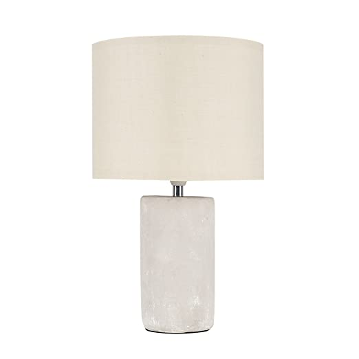 8f06c7fafaba Modern Cement/Stone Effect Ceramic Table Lamp with a Beige Cylinder Light  Shade: Amazon.co.uk: Lighting