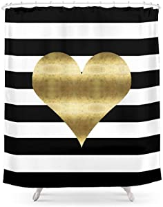 Cloud Dream Gold Heart Black and White Stripe Pattern Bathroom Decor Shower Curtain, Happy Valentine's Day Waterproof Bath Curtain with Hooks 72 x 72-Inch