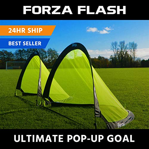 FORZA Flash Pop Up Soccer Goal - Pair Of Portable Soccer Nets With Carry Bag - Available In Sizes 2.5ft, 4ft & 6ft - [Net World Sports]