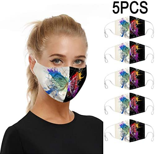 Reusable and Washable Butterfly Print Face/_Maxks with 1Replacement Gasket for Adult,Dusproof Half Face Protection