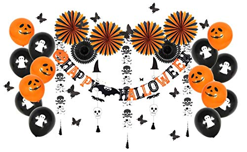 Halloween Party Decorations Cute Fun Party Supplies, All-in-One Pack Kids Theme Party Include Black Orange Tissue Paper Fans Skeleton Ghost Garland Happy Halloween Banner with Ghost Printed Latex Balloons