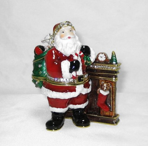 Santa Claus by Fireplace Hinged Trinket Box Jeweled w Austrian Crystals