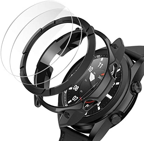 Cuteey for Samsung Galaxy Watch 3 45mm Screen Protector Case, TPU Bumper +PC Bezel Ring Styling Cover +2 Tempered Glass Screen Protector Films for Watch3 Accessories (Black+Bezel Protector, 45 mm)
