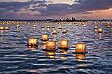 Water Floating Candle Lanterns Outdoor Biodegradable Lanterns for Praying Set of 10 (4.3 inch)
