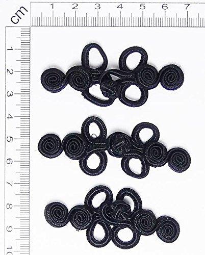 Negro # 20 2 pares de mano puntada Rana Sujetador botón nudos Color