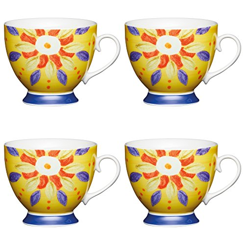 KitchenCraft Large Bone China 'Moroccan Yellow' Footed Floral-Patterned Mugs, 400 ml - Multi-Colour (Set of 4)