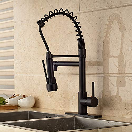 Newly Oil Rubbed Bronze Kitchen Faucet Deck Mounted One Hole Pull Down Spout With 8