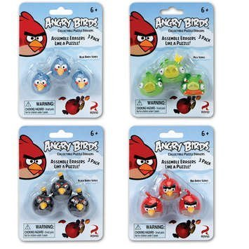 Bird Eraser - Angry Birds Puzzle Erasers - 3 Pack Assorted Styles