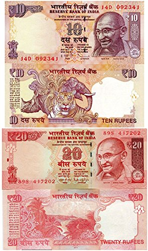 IN 1996 2 PRISTINE OUT-OF-PRINT GHANDI BANKNOTES w TIGER, ELEPHANT, RHINO, BEACH Germ Crisp Uncirculated (Set Elephant Coin)