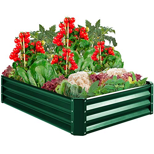 Best Choice Products 4x3x1ft Outdoor Metal Raised Garden Bed for Vegetables, Flowers, Herbs, Plants – Green