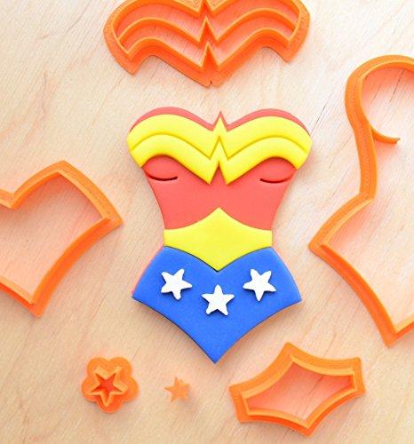 Superhero Girl's Suit Fondant Cutter Set (3.0 x 4.0 inches)