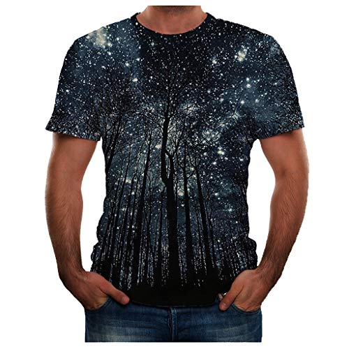 iHPH7 T Shirt Fashion Cool 3D Print T-Shirts Funny Graphics Pattern Crewneck Short Sleeve Tees Plus Size Top Blouse for Men (XXL,18- Navy)