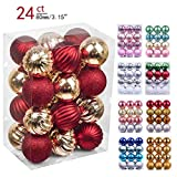 Valery Madelyn 24ct 80mm Luxury Red Gold Shatterproof Christmas Ball Ornaments Decoration,Themed with Tree Skirt(Not Included)