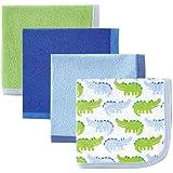 Luvable Friends Washcloths, Blue Alligator, 4 Count
