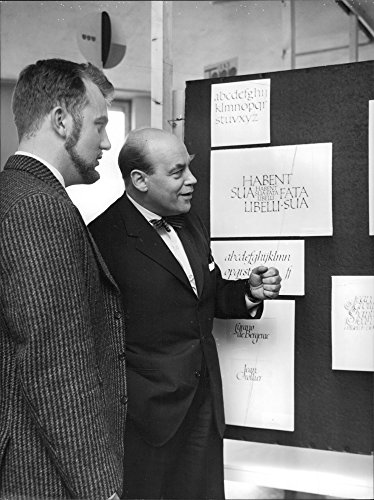 Vintage Photo Of Chairman Of The Federation Wilhelm Forsberg And Jan Ake Bjurenberg At Graphic Vocational Schools Closing Exhibition At The National College Of Art