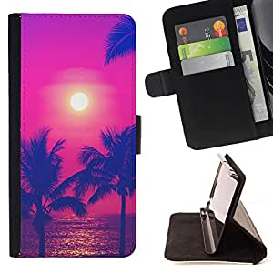 King Art - Premium PU Leather Wallet Case with Card Slots, Cash Compartment and Detachable Wrist Strap FOR Apple iPhone 6 6S Plus 5.5- Hawaii Palm Trees Beach