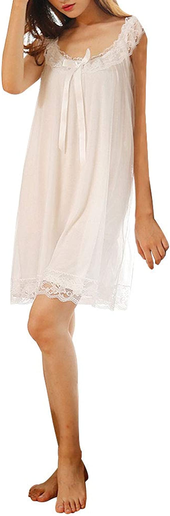 Vintage Nightgowns, Pajamas, Baby Dolls, Robes Womens Sleeveless Victorian Nightgown Vintage Floral Lace Trim Sleep Dress $29.22 AT vintagedancer.com