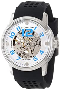 Stuhrling Original Men's 1070.33162 Classic Delphi Adonis Automatic Skeleton Silver Tone Black Rubber Strap Watch