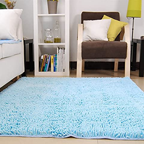 Ustide Modern Shaggy Sky Blue Rugs Soft Thick Kitchen Area Carpet New Design Living Room Carpets Chenille Washable Rug 4X6ft