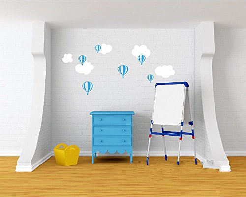 Cute Hot Air Balloon Wall Sticker Balloon Clouds Baby Nursery Wall Decals DIY Vinyl Sticker For Kids Room-you choose colors