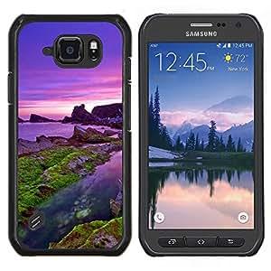 EJOOY---Cubierta de la caja de protección para la piel dura ** Samsung Galaxy S6Active Active G890A ** --Mar púrpura