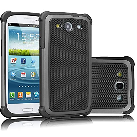 Galaxy S3 Case, Tekcoo(TM) [Tmajor Series] [Gray/Black] Shock Absorbing Hybrid Rubber Plastic Impact Defender Rugged Slim Hard Case Cover Shell For Samsung Galaxy S3 S III I9300 GS3 All (Galaxy S3 Straight Talk New)
