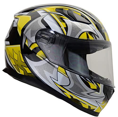 Vega Helmets 6115-163 Ultra Full Face Helmet for Men & Women (Yellow Shuriken Graphic, Medium) 1 pack