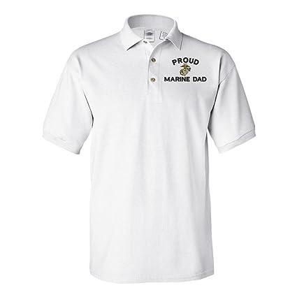 4d8d4d3a Amazon.com: Military Proud Marine Dad USMC Polo Shirt White: Clothing