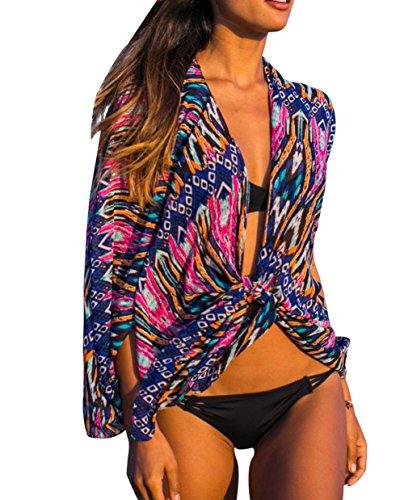 Bestyou Women's Print Chiffon Beachwear Kimono Cover (Beachwear Wrap)