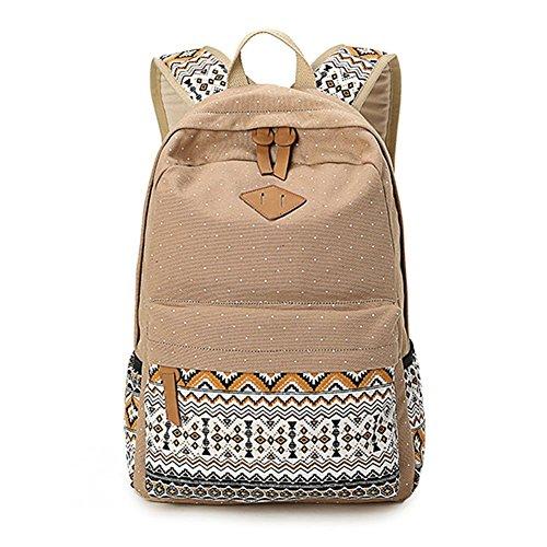 Abshoo Cute Lightweight Canvas Bookbags School Backpacks for Teen Girls (Khaki)