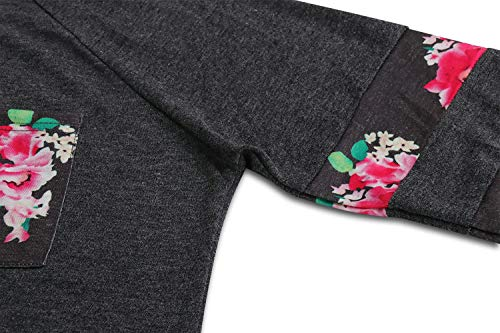 pissure Fashion Monika Automne Blouse Hauts Sweat Printemps T Rond Fonc Jumpers Shirts Manches Femmes Casual Longues Pullover Gris Pulls Col Imprime Tops Shirts et rawaxqE1U