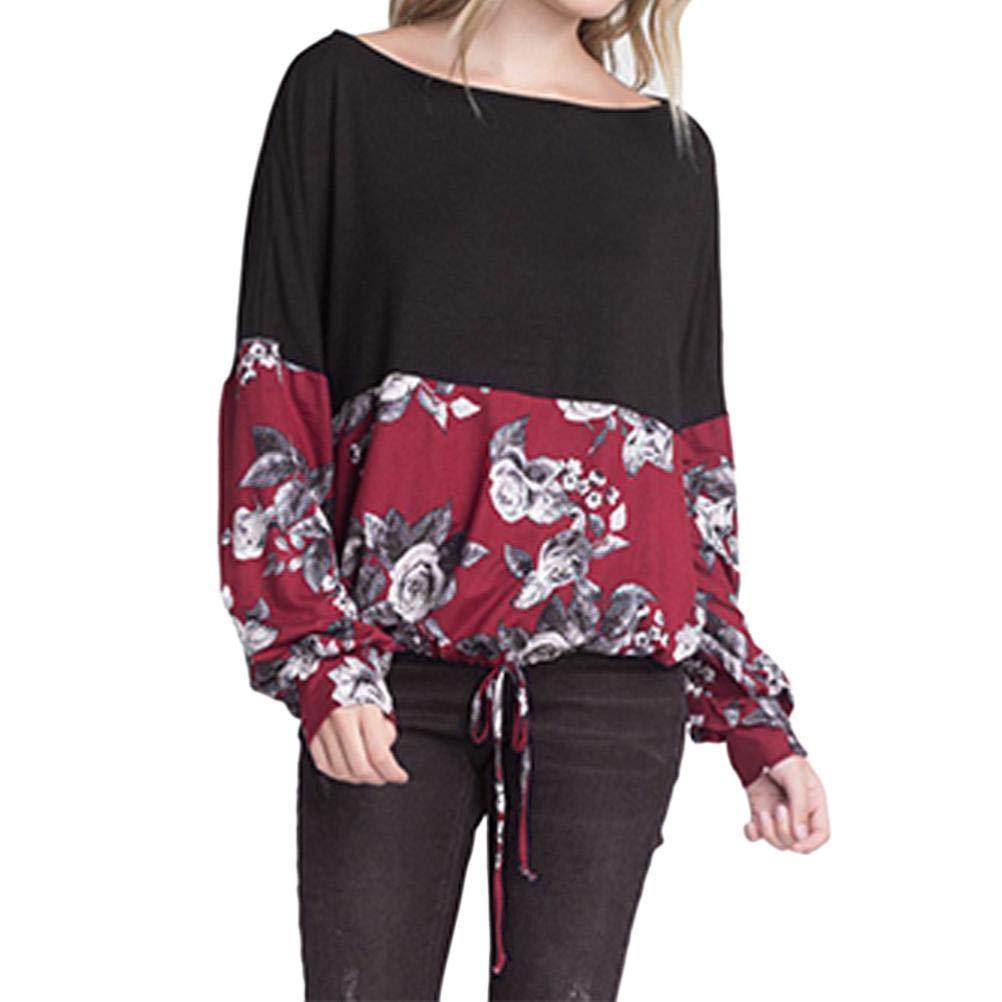 Zarupeng Damen Patchwork Lace-up Casual Bluse T-Shirt Lose Langarm Blumendruck Pullover Top Shirt mit Rundhalsausschnitt