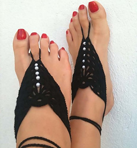 Crochet Barefoot Sandals,Beach Pool,Nude shoes,Foot jewelry,Footless sandles,Beach Wedding Jewelry,Yoga Chain,Anklet, Wedding shoes, Beach Wedding, Su…