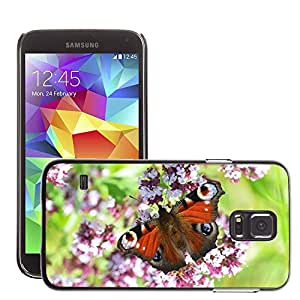 Just Phone Cases Etui Housse Coque de Protection Cover Rigide pour // M00128325 Peacock mariposa Naturaleza Insectos // Samsung Galaxy S5 S V SV i9600 (Not Fits S5 ACTIVE)