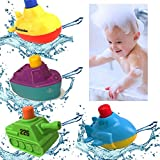 Aprice Toddler Baby Boat Bath Toys Mold Free Float Squirt Toy Bathtub Pool Kids Fun 4 Pcs